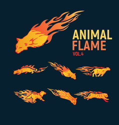 Animal flame mascot set logo vector