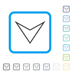 Arrowhead down framed icon vector