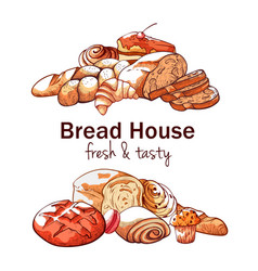bakery hand drawn background on white background vector image