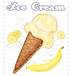 Banana ice cream vector image