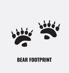 Bear footprint trails front and back footprints vector
