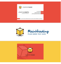 beautiful cube logo and business card vertical vector image