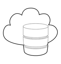 Big cloud database icon outline style vector