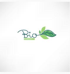 bio product doodle organic leave emblem frame vector image