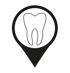 Black and white dental clinic map sign silhouette vector