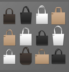 blank white black and brown canvas shopping bag vector image
