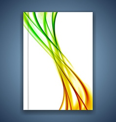 Bright smooth swoosh wave brochure cover design vector image