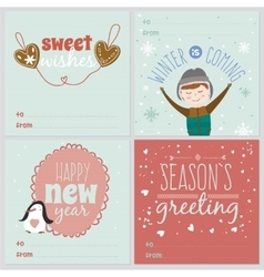 Cards with Christmas typographic and elements vector image