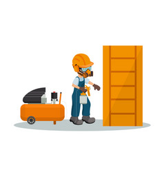 carpenter painting a wooden door vector image