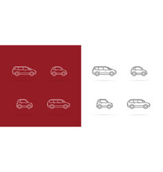 Cars icons set white lines style on dark vector