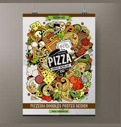 Cartoon hand drawn doodles pizza poster template vector