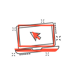 cartoon laptop notebook with mouse cursor icon in vector image