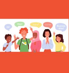 Children greeting school kids say hi in different vector