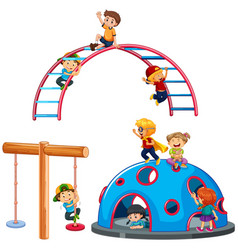 Children playing playground equipment vector