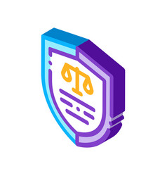 Court icon law and judgement isometric icon vector
