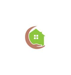 creative green house hand protection logo design vector image