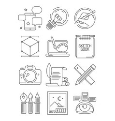 Creative line icons process of artists branding vector