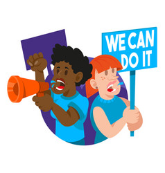 crowd women feminist vector image