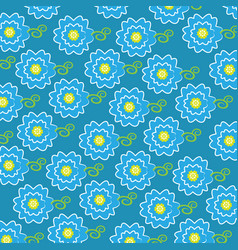 cute blue flower pattern background vector image