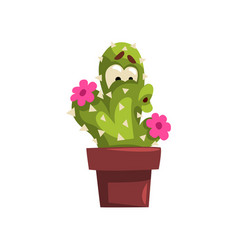 Cute cactus character with flowers succulent vector