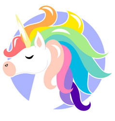 Cute face unicorn with rainbow hair vector