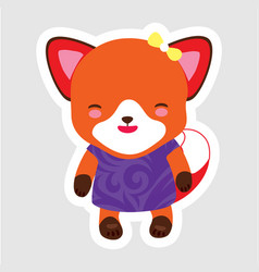 cute little fox in cartoon style wearing purple vector image