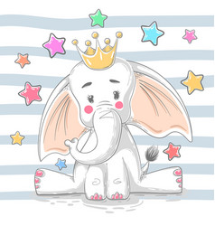 cute princess elephant - cartoon characters vector image