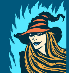cute redhead witch vector image