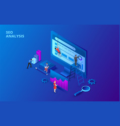 dark isometric seo analysis concept with people vector image