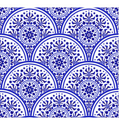 Decorative floral blue and white seamless pattern vector