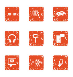 Digital graph icons set grunge style vector