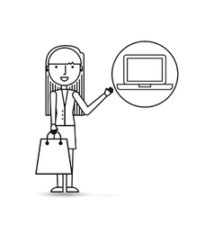 drawing girl shopping with computer vector image