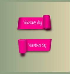 eps 10 pink ribbons on the day of st valentine vector image