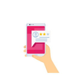 feedback mobile review phone in hands vector image