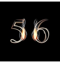 Fire and Smoke font Numbers 5 6 vector image