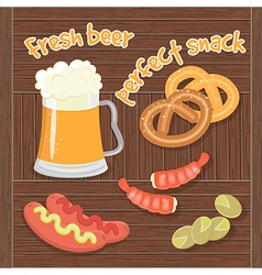 Fresh beer perfect snack vector image vector image