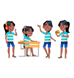 girl schoolgirl kid poses set black afro vector image