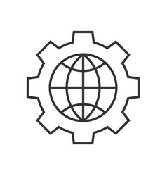 Global setting outline icon vector
