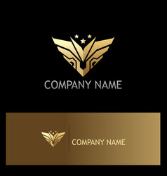 Gold abstract wing emblem star logo vector