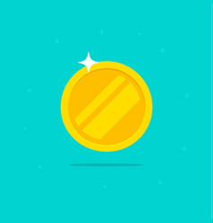 gold coin icon flat cartoon golden metal vector image