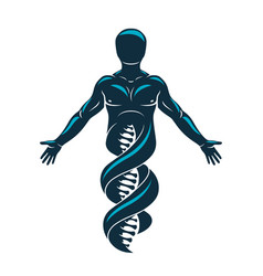Graphic of strong male made as dna symbol vector