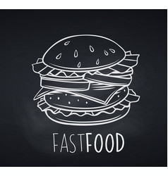 hamburger icon blackboard style vector image