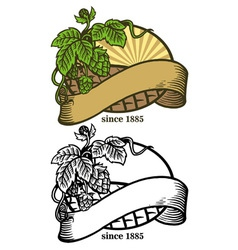 hand drawing of hops and ribbon vector image