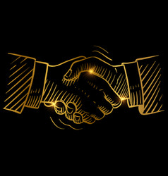 hand drawn handshake businessmen making handshake vector image