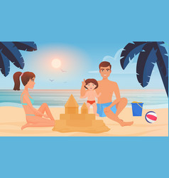 happy family build sand castle together playing vector image