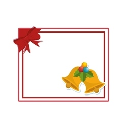 Happy merry christmas bell card vector