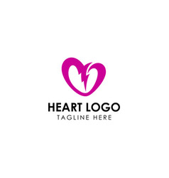 heart and bolt logo design vector image
