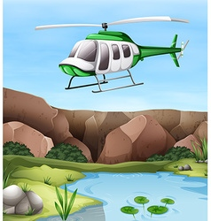 Helicopter flying over the cliff vector