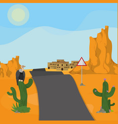 Highway to desert town vector