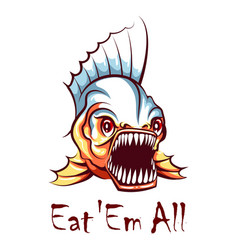 hungry piranha mascot emblem vector image